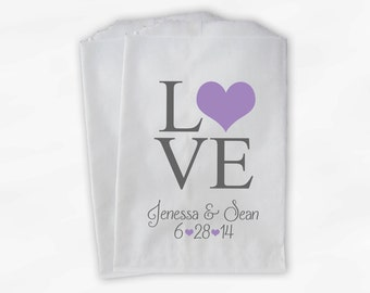 Personalized Candy Buffet Bags - Love and Hearts Custom Favor Bags for Wedding in Lavender and Gray - Paper Treat Bags (0065)