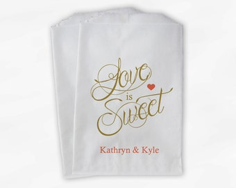 Love Is Sweet Calligraphy Wedding Candy Buffet Treat Bags - Personalized Favor Bags in Gold and Coral - Custom Paper Bags (0122)