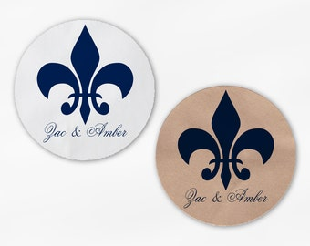 Fleur de Lis Wedding Favor Stickers - Navy Blue Custom Candy Buffet White Or Kraft Round Labels for Bag Seals, Envelopes (2020)