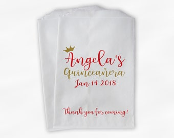 Quinceanera Birthday Personalized Candy Buffet Bags with Crown - Red and Gold Thank You Custom Favor Bags - 25 Paper Treat Bags (0207)