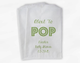 About To Pop Baby Shower Candy Buffet Treat Bags - Gender Neutral Baby Personalized Favor Bags in Light Green - 25 Custom Paper Bags (0128)