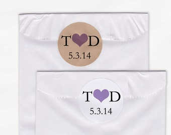 Initials & Heart Wedding Favor Stickers - Black and Lavender Custom White Or Kraft Round Labels for Bag Seals, Envelopes, Mason Jars (2004)