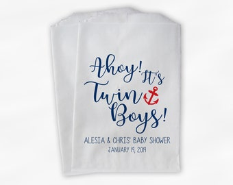 Ahoy It's Twin Boys Baby Shower Favor Bags - Personalized Navy and Red Nautical Anchor Custom Treat Bags for Baby Shower - 25 Paper Bags