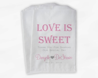 Love Is Sweet Wedding Candy Buffet Treat Bags - Personalized Favor Bags in Pink and Gray - Custom Paper Bags (0069-6)