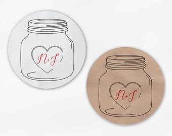 Mason Jar Initials & Heart Wedding Favor Stickers in Red - Custom White Or Kraft Round Labels for Bag Seals, Envelopes (2027)