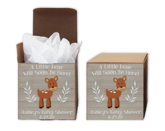 A Little Deer Baby Shower Favor Boxes in Light Ivory - Set of 12 Personalized Treat Containers with Stickers for Favors, Gifts - Kraft Boxes