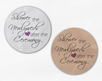 Shower the Newlyweds Wedding Favor Stickers - Lilac Custom White Or Kraft Round Labels for Bag Seals, Envelopes (2026)