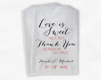 Love Is Sweet Our Day Complete Wedding Candy Buffet Treat Bags - Handwritten Favor Bags in Black and Red - Custom Paper Bags (0169)