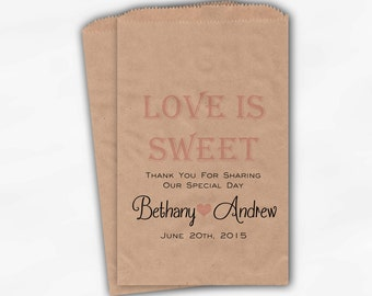 Love Is Sweet Wedding Candy Buffet Treat Bags - Personalized Favor Bags in Pink Ice and Black - Kraft Brown Custom Paper Bags (0069)