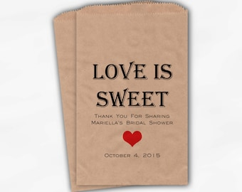 Love Is Sweet Candy Buffet Treat Bags - Personalized Bridal Shower Favor Bags in Black and Red - 25 Custom Kraft Paper Bags (0167)