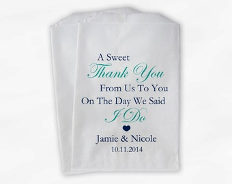 Sweet Thank You Wedding Candy Buffet Treat Bags - Navy and Light Teal Personalized Favor Bags with Couple's Names and Wedding Date (0054)