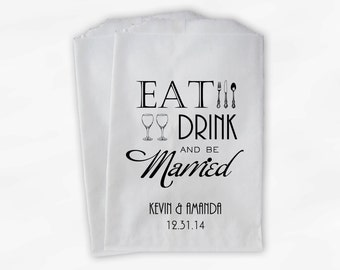 Eat Drink and Be Married Candy Buffet Bags in Black - Personalized Custom Favor Bags with Silverware and Champagne - Paper Treat Bags (0117)