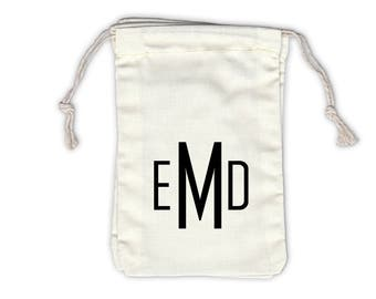Block Monogram Personalized Cotton Bags for Wedding Favors in Black - Ivory Fabric Drawstring Bags - Set of 12 (1027)