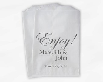Enjoy Wedding Candy Buffet Treat Bags - Personalized Favor Bags with Couple's Names and Wedding Date - Gray Custom Paper Bags (0026-3)