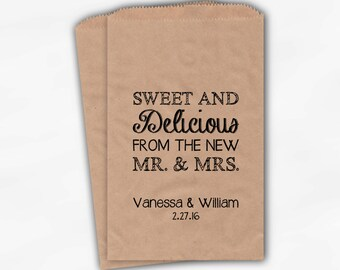 Sweet, Delicious New Mr & Mrs Candy Buffet Bags - Personalized Wedding Favor Bags - Black on Kraft Paper Treat Bags (0179)