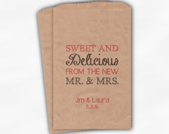 Sweet, Delicious New Mr & Mrs Candy Buffet Bags - Personalized Wedding Favor Bags - Black and Rose Pink on Kraft Paper Treat Bags (0179)