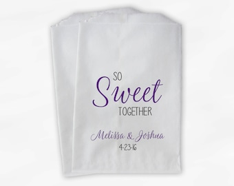 So Sweet Together Wedding Candy Buffet Treat Bags - Personalized Favor Bags in Purple - Custom Paper Bags (0172)