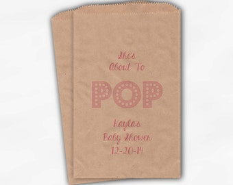 She's About To Pop Baby Shower Candy Buffet Treat Bags - Baby Girl Personalized Favor Bags in Pink - 25 Custom Kraft Paper Bags (0128)