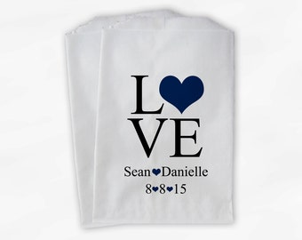 Personalized Candy Buffet Bags - Love and Hearts Custom Favor Bags for Wedding in Black and Navy - Paper Treat Bags (0015-9)