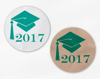 2018 Graduation Cap Favor Stickers - Teal Custom White Or Kraft Round Labels for Bag Seals, Envelopes, Mason Jars (2012)