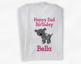 Puppy Birthday Party Candy Favor Bags - Pink and Gray Custom Doggy Bags for Kids or Dogs - 25 Paper Bags