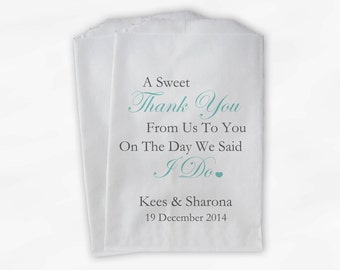 Sweet Thank You Wedding Candy Buffet Treat Bags - Light Aqua and Gray Personalized Favor Bags with Couple's Names and Wedding Date (0054-6)