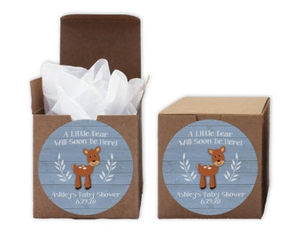 A Little Deer Baby Shower Favor Boxes in Light Blue - Set of 12 Personalized Treat Containers with Round Stickers - Kraft Boxes