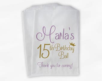 15th Birthday Ball Personalized Candy Buffet Bags - Lilac Purple & Gold Thank You Custom Favor Bags with Crown - 25 Paper Treat Bags (0081)