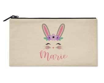 Rabbit With Flowers Personalized Zipper Pouch - Bunny Zip Case - Use as Pencil Bag, Makeup Pouch, Clutch