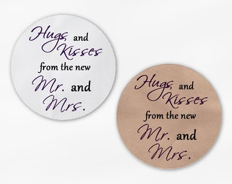 Hugs and Kisses From the New Mr. and Mrs. Wedding Favor Stickers - Dark Purple and Black Custom Round Labels (2015)