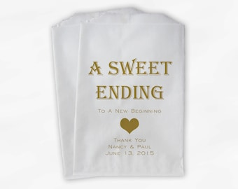 Sweet Ending New Beginning Wedding Candy Buffet Treat Bags - Personalized Favor Bags in Gold - Custom Paper Bags (0150)