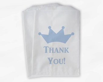 Kids Little Prince Party Candy Favor Bags with Crown - Baby Blue Custom Thank You Treat Bags for Kids - 25 Paper Bags (0090)
