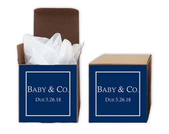 Baby Shower Favor Boxes in Navy Blue - Baby & Co. Set of 12 Personalized Treat Containers with Stickers for Favors, Gifts - Kraft Boxes