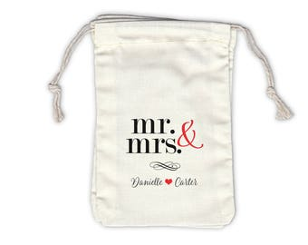 Mr and Mrs Personalized Cotton Bags for Wedding Favors in Black and Red - Ivory Fabric Drawstring Bags - Set of 12 (1023)