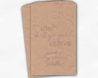 Sweet Baby Girl On The Way Baby Shower Candy Buffet Treat Bags - Set of 25 Light Purple Personalized Kraft Paper Favor Bags (0181)