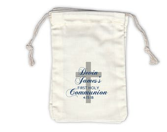 First Communion with Cross Cotton Favor Bags for Religious Ceremony in Navy and Gray - Ivory Fabric Drawstring Bags - Set of 12 (1050)