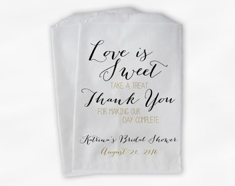 Love Is Sweet Our Day Complete Bridal Shower Candy Buffet Treat Bags - Handwritten Favor Bags in Black and Gold - Custom Paper Bags (0169)