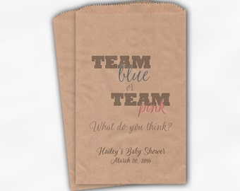 Team Blue or Team Pink Gender Reveal Party Candy Favor Bags - Custom Treat Bags for Baby Shower - 25 Kraft Paper Bags (0183)