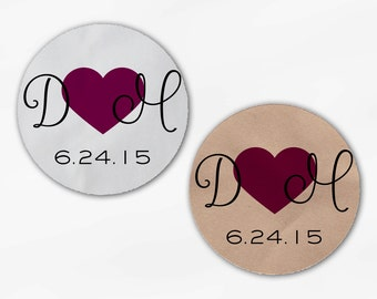 Initials and Heart Wedding Favor Stickers - Red Violet Custom Candy Buffet White, Kraft Round Labels for Bag Seals, Envelopes (2021)