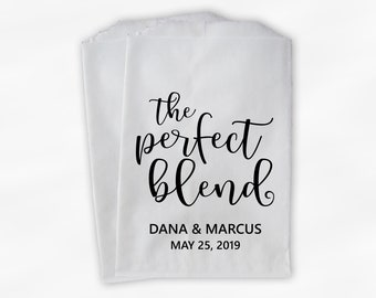 The Perfect Blend Favor Bags - Black and White Personalized Wedding Favor Bags for Coffee Beans with Names and Date - Custom Paper Bags