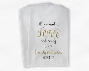 Love and Candy Wedding Candy Buffet Treat Bags - Personalized Calligraphy Favor Bags in Black and Gold - Custom Paper Bags (0197)