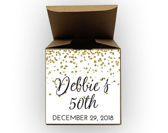 Glitter Confetti Birthday Party Favor Boxes - Set of 12 Personalized Treat Containers with Stickers for Party Favors - Kraft Tuck Top Boxes