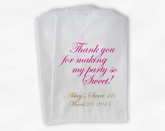Sweet 16 Party Personalized Candy Buffet Paper Treat Bags - Set of 25 Hot Pink and Gold Thank You Favor Bags with Name and Date (0143)