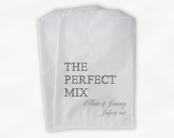 The Perfect Mix Candy Buffet Treat Bags - Dark Gray Personalized Wedding Favor Bags with Names and Date - Custom Paper Bags (0178)