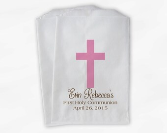 First Communion Favor Bags - Baptism or Religious Party Custom Favor Bags - Set of 25 Pink and Brown Paper Treat Bags (0073)