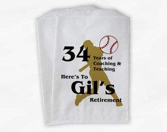 Retirement Candy Buffet Bags - Baseball Coach Teacher Custom Favor Bags - 25 Paper Treat Bags (0080)