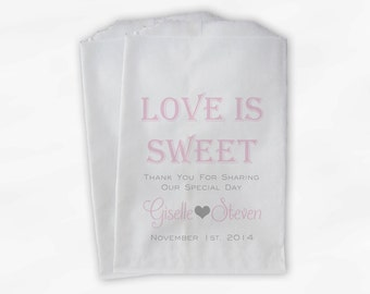 Love Is Sweet Wedding Candy Buffet Treat Bags - Personalized Favor Bags in Baby Pink and Gray - Custom Paper Bags (B0069)