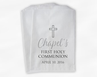 First Communion Favor Bags - Baptism or Religious Party Custom Favor Bags - Set of 25 Gray and Black Paper Treat Bags (0186)