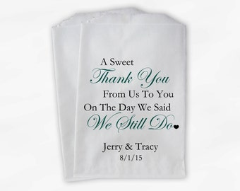Sweet Thank You Anniversary Candy Buffet Treat Bags - Teal and Black Personalized Favor Bags - We Still Do Set of 25 Bags (0166)