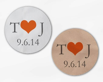 Initials & Heart Wedding Favor Stickers - Orange and Gray Custom White Or Kraft Round Labels for Bag Seals, Envelopes, Mason Jars (2004)